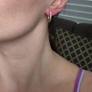 NEW 14K Yellow Gold Diamond Accent Earrings